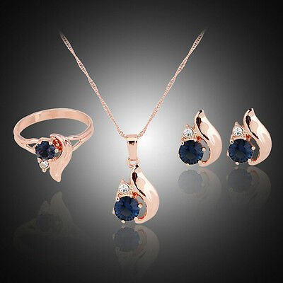Gold plated women wedding pendant necklace earring ring jewelry set TO
