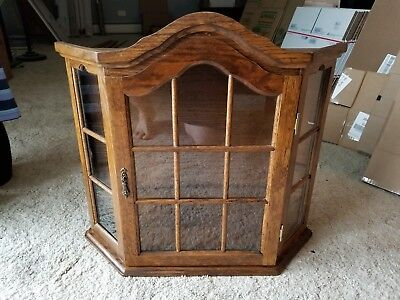Vintage Antique Hand Crafted Wood Wall Mount? Curio Cabinet Glass Sides & Doors