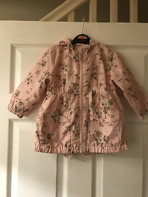 Next Size 12-18 Months Baby Pink Flower Print Water Proof Jacket With Hood