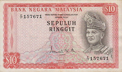 Malaysia 10 Ringgit Banknote,(1967-1972),Choice Very Fine Condition,Cat#3-A-7671