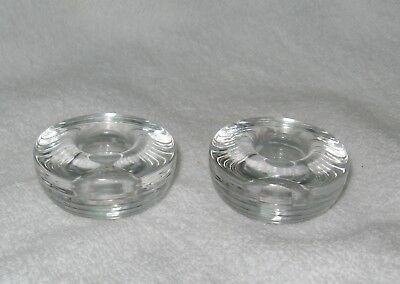 "2 Iittala Finland Clear  ""Maaru"" Art Glass Candle Holder Tapio Wirkkala"