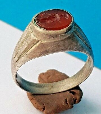 Roman silver ring with red stone with women's figure engraved