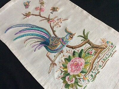 Stunning Vintage Hand Embroidered Picture Panel ~ Peacock/water Lilies/blossoms
