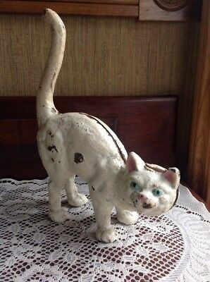 Antique Cast Iron Hubley Rare White Cat Door Stop Arched Back Blue/ Green Eyes
