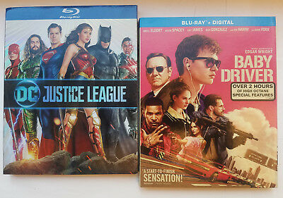 Justice League + Baby Driver (2x Blu-rays + Slip Covers, NO DIGITAL)