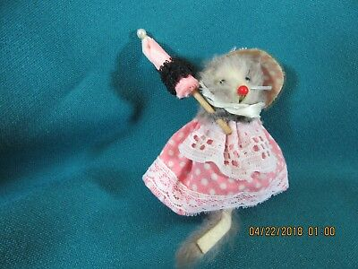 4M. Vintage Mice Mouse Ornament Toy Made in West Germany Original Fur Animals