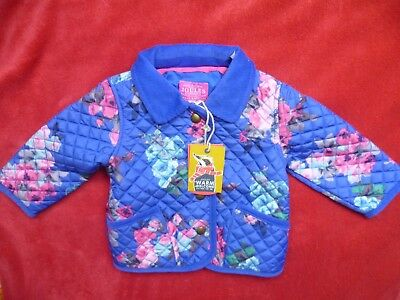 Joules Baby Girls Mabel Blue Ditsy Quilted Jacket Coat 6-9 Months