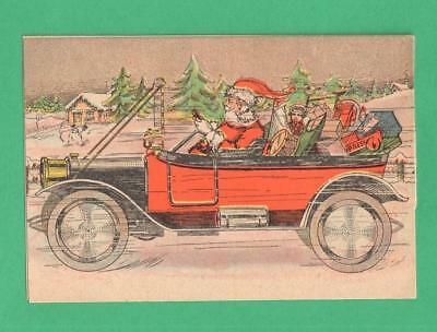 Antique Christmas Trade Card Putnam Dyes Santa Claus Old Car Toys Holly Garland