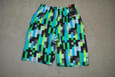 Under Armour Boys Zoom Volley Pixel-Print Swim Shorts 27C66008-77 Laser Green