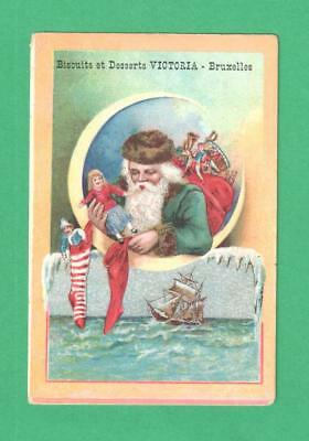Scarce Antique Christmas Trade Card Victoria Biscuits Santa Claus Doll Stocking