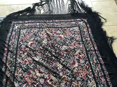 old Chinese Embroidered Silk Piano Shawl Manila Tablecloth