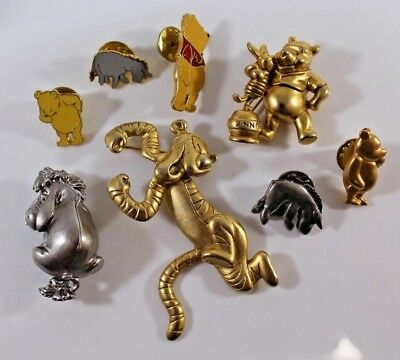 Vintage Brooches  Pins Lot of 8 signed DISNEY Winnie the Pooh Tigger & Eeyore