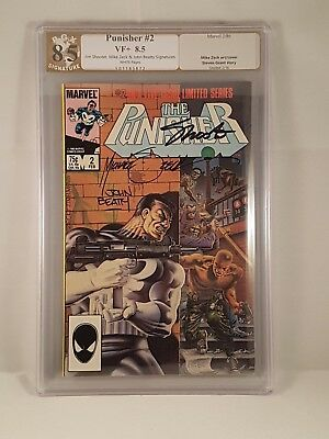 Punisher #2 Limited Series PGX (not CGC) 8.5 Signed 3X Shooter, Zeck & Betty