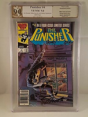 Punisher #4 Limited Series PGX (Not CGC) 9.0 Signed 3X Shooter, Zeck & Betty