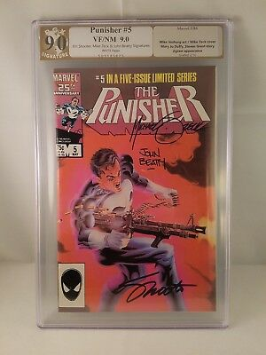 Punisher #5 Limited Series PGX (Not CGC) 9.0 Signed 3X Shooter, Zeck & Betty