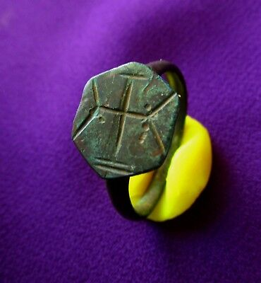 Ancient BYZANTINE bronze ring  CROSS engraved - beautiful . circa 700 AD.