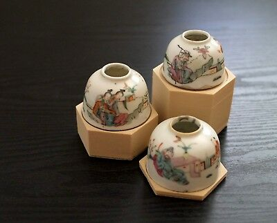 A set of 3 antique Chinese water pots late qing dynasty