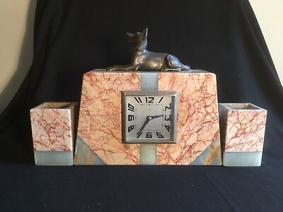 French Art Deco Marble Clock With Bronzed German Shepherd And Garnitures