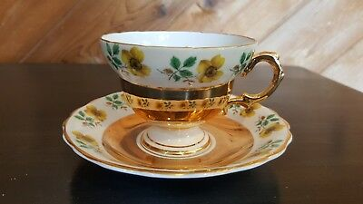 Rosina Gold And Yellow Floral Flower England Bone China Tea Cup & Saucer Shiny