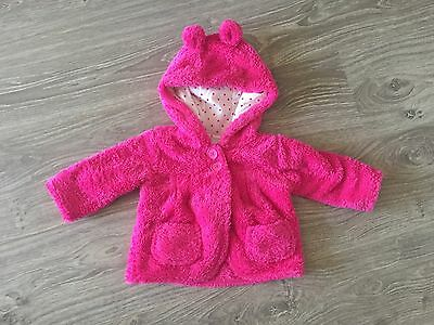 Baby Girl Winter Fleecy Jacket With Hood size 00 Excellent Condition