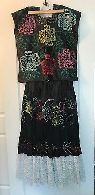 Oaxacan Folklorico Costume Tehuana Frida Kahlo Dress Skirt Mexican Dance SMALL