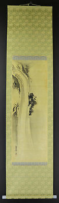 """JAPANESE HANGING SCROLL ART Painting Scenery """"Waterfall"""" Asian antique  #E1776"""