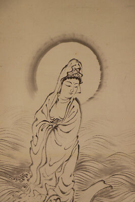 """JAPANESE HANGING SCROLL ART Painting """"Kannon"""" Buddhism Asian antique  #E1786"""