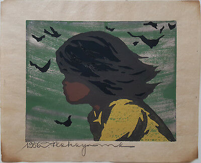Girl In The Wind by Tadashi Nakayama Japanes Woodblock Print Signed Dated