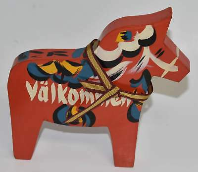 Red Swedish Dala Horse Wood Welcome Sign Valkommen