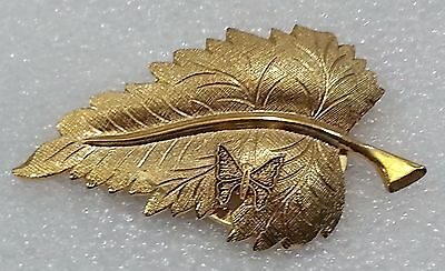 Gold Tone Leaf Butterfly Scarf Clip