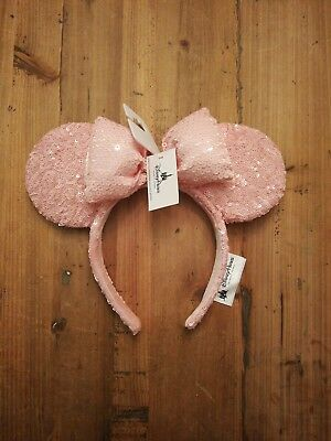 NEW 2018 Disney Parks Millenial Pink Sequin Bow Minnie Ears Headband