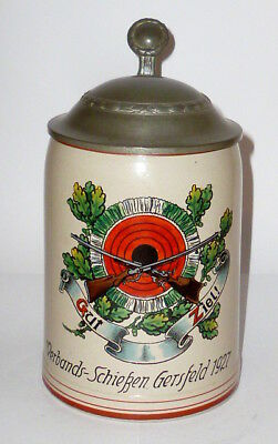 Age Shooting Beer Stein Jug SHOOTING MUG GERSFELD 1927 Hesse Gut Goal Jugs