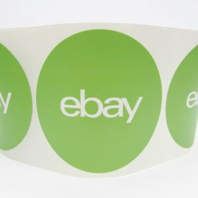 10 green round ebay branded stickers 3 circle logo label