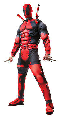 Licensed Marvel Deluxe Deadpool Mens Muscle Costume X-Men Superhero Anti-Hero