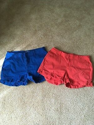 Ladies Size 12- ELLE Chino Shorts-  Blue and Coral
