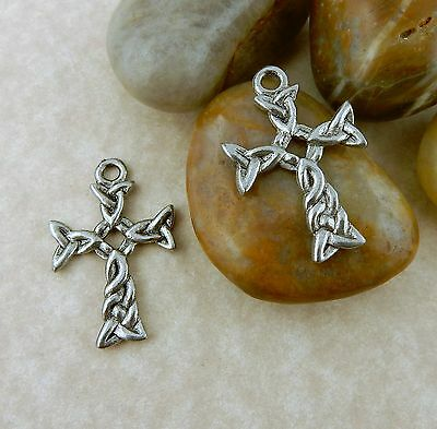 4 Antique Pewter Celtic Cross  with Trinity Knots Charms, pendant