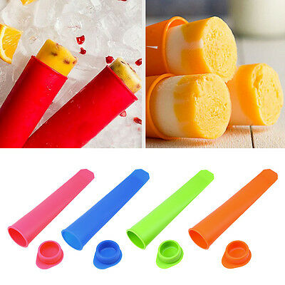 4Stk Silikon DIY Ice Cream Mould Jelly Lolly Pop Maker Popsicle Mold Form Home./