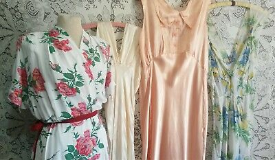Vtg 30s 40s Long Cold Rayon ROSES Robe Peach Silk Satin Negligee Night Gown L