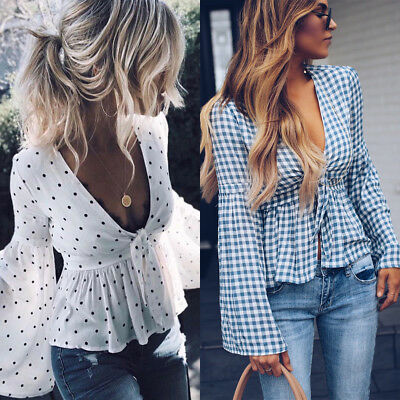 Fashion Women Chiffon Blouse Sexy Polka Dot V Neck Ruffles Long Sleeve Tops TB