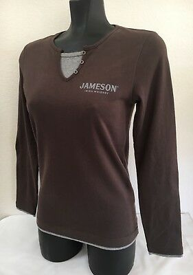 JAMESON IRISH WHISKEY Women's Size S Long Sleeve Cotton Pullover T Shirt Brown