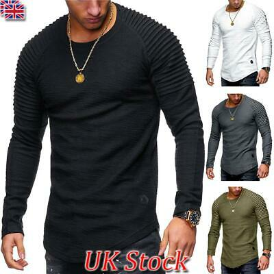 Summer Men Fashion Casual T-shirt O Neck Muscle Long Sleeve Tops Slim Fit Blouse