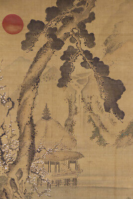 """JAPANESE HANGING SCROLL ART Painting """"Mt. Penglai""""  Asian antique  #E1792"""