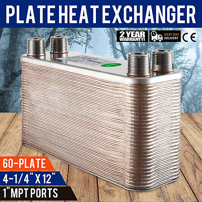"60 Plate Water to Water Brazed Plate Heat Exchanger Boiler 1"" male Radiant"