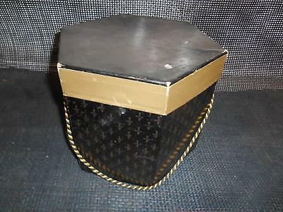 Old Vtg Hexagon HAT BOX Wig 2-Piece with Insert Gold Black Advertising