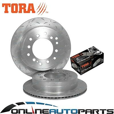Rear Drilled Slotted Brake Rotors Pads suits Landcruiser HZJ73/75 FZJ75