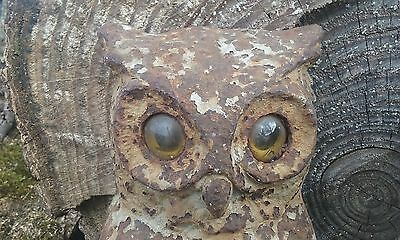 Owl Fireplace Andiron Vintage Set 2 Cast Iron w/Glass Eyes Antique Andirons