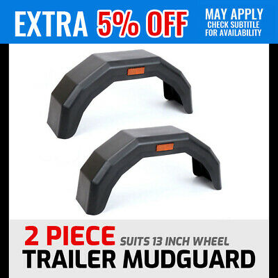 "2x Trailer Mud Guard Black Plastic Mudguard 13"" Wheels Tyre Boat Caravan Camping"
