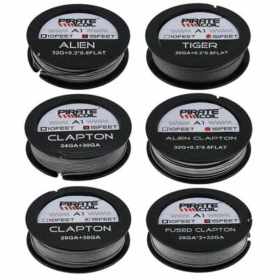 Alien Clapton Tiger Quad Fused Clapton Drahtspule Kanthal A1 15Feet Spool New