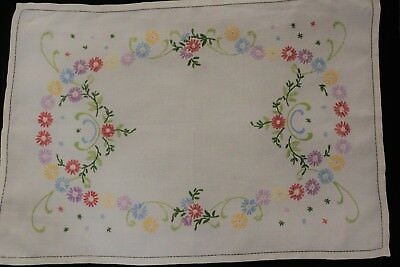 Vintage cream linen hand embroidered floral tray cloth.