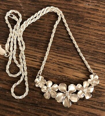 Hibiscus 925 Sterling Silver Flower Necklace With A Rope Chain